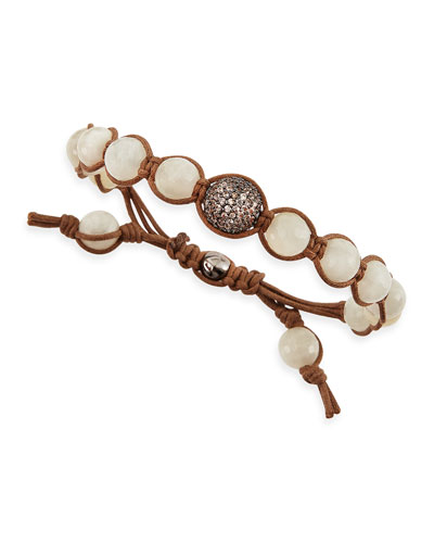 Tai Moonstone-Colored Agate Beaded Bracelet with Pave Gunmetal Bead