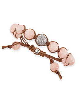 Tai Ice Pink Agate Beaded Bracelet with Pave Gunmetal Bead