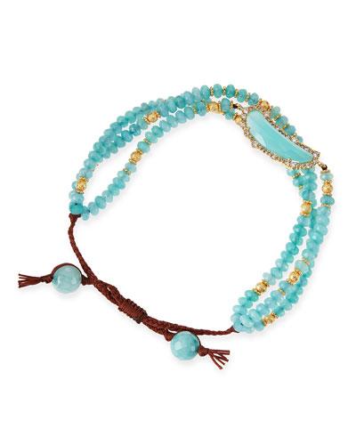 Tai Multi-Strand Aqua-Colored Agate Bracelet