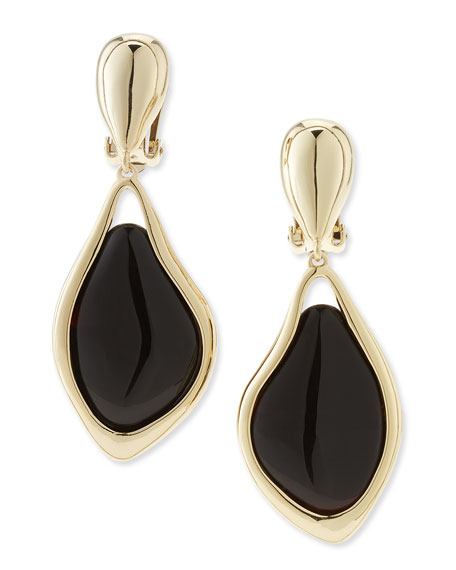 Dangling Clip-On Earrings with Black Banded Agate
