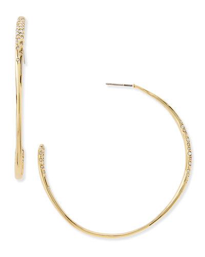 Alexis Bittar Golden Crystal-Encrusted Hoop Earrings