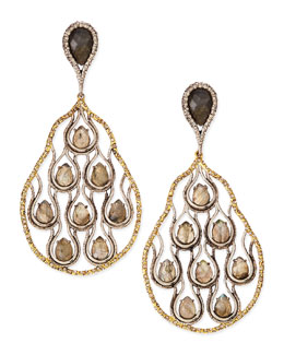 Alexis Bittar Cholulian Aigrette Teardrop Clip-On Earrings with Labradorite