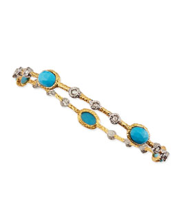Alexis Bittar Elements Golden Lace Bangle with Turquoise