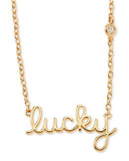 SHY by Sydney Evan Lucky Single-Diamond Script Necklace