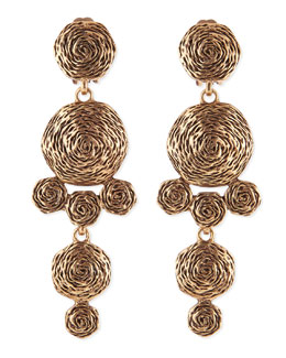 Oscar de la Renta Golden Swirl Drop Clip-On Earrings