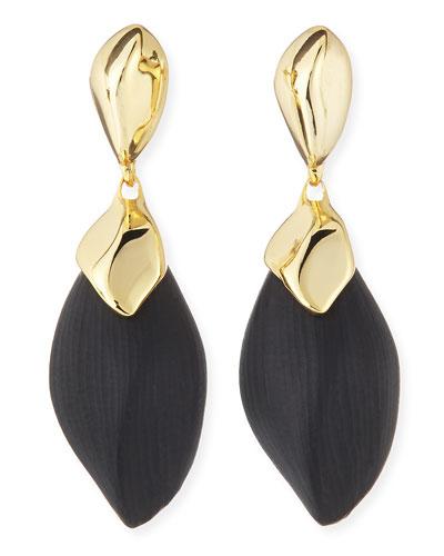 Alexis Bittar Kinshasa Liquid Metal-Capped Black Lucite Earrings