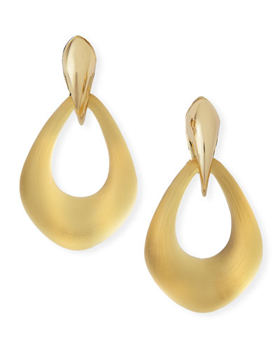 Alexis Bittar Kinshasa Claw-Capped Lucite Hoop Clip-On Earrings, Golden