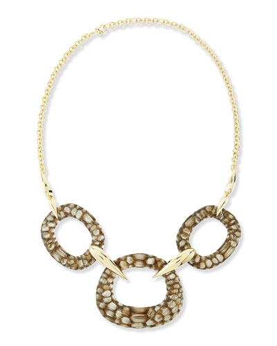 Alexis Bittar Kinshasa Crocodile-Embossed Linked Bib Necklace