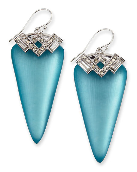 Ice Baguette Arrow Drop Earrings, Blue
