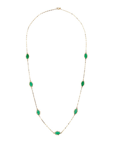 "Lana Envy Green Onyx 14k Gold Necklace, 22"""