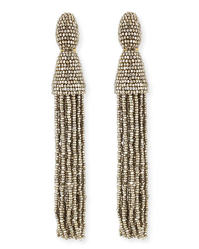 Oscar de la Renta Long Beaded Tassel Earrings, Champagne