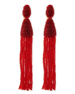 Oscar de la Renta Long Beaded Tassel Earrings, Crimson
