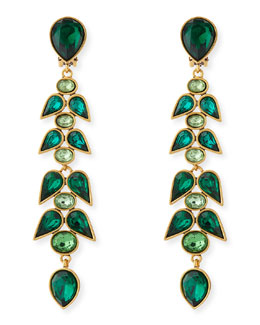 Oscar de la Renta Wisteria Crystal Drop Earrings, Emerald Green