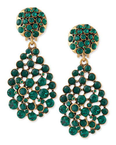 Oscar de la Renta Bold Pear-Cut Cluster Drop Clip-On Earrings, Emerald Green