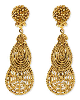 Jose & Maria Barrera 24k Plated Filigree Petal Clip-On Earrings