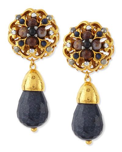Jose & Maria Barrera 24k Plated Navy Jade Clip-On Earrings