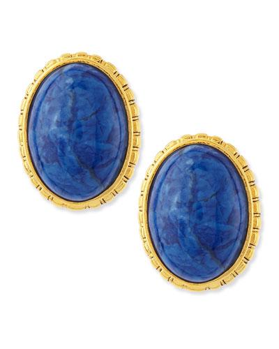Jose & Maria Barrera Oval Sodalite Button Clip-On Earrings