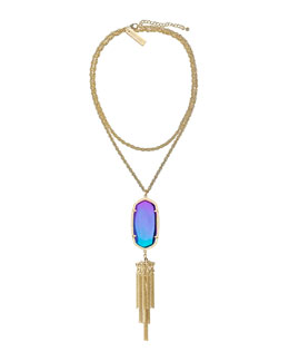 Kendra Scott Luxe Rayne Pendant Necklace, Black Iridescent