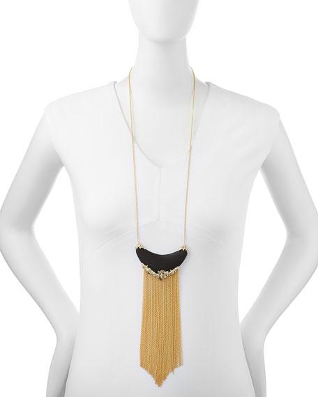 Imperial Black Lucite Golden Fringe Necklace