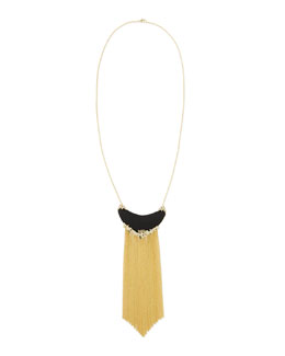 Alexis Bittar Imperial Black Lucite Golden Fringe Necklace