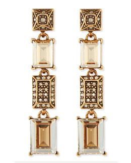 Oscar de la Renta Crystal Golden Shadow Drop Earrings