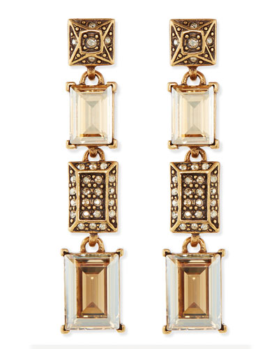 Oscar de la Renta Crystal Golden Shadow Drop Earrings