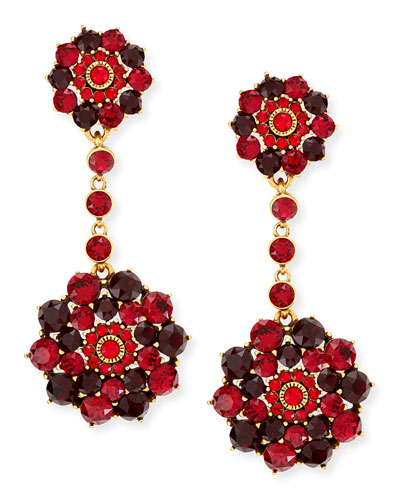 Oscar de la Renta Crimson Crystal Drop Clip-On Earrings