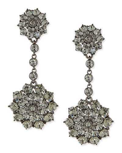 Oscar de la Renta Gray Crystal Drop Clip-On Earrings