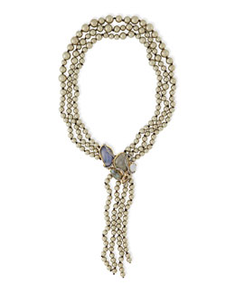 Alexis Bittar Reversible-Drop Shell Pearl Necklace