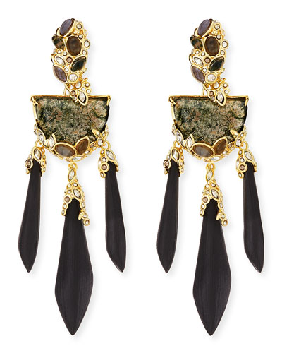 Alexis Bittar Imperial Moss Agate & Black Lucite Chandelier Earrings