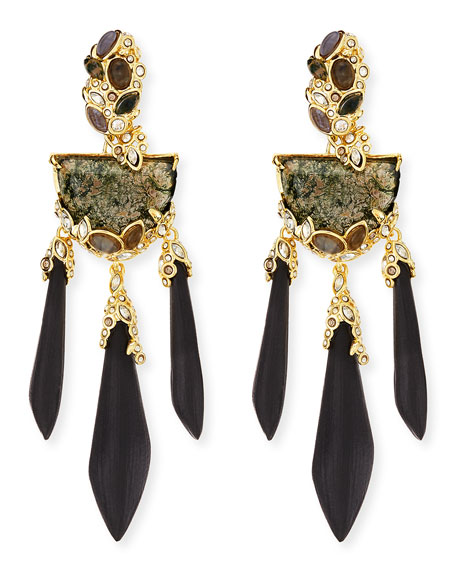 Imperial Moss Agate & Black Lucite Chandelier Earrings
