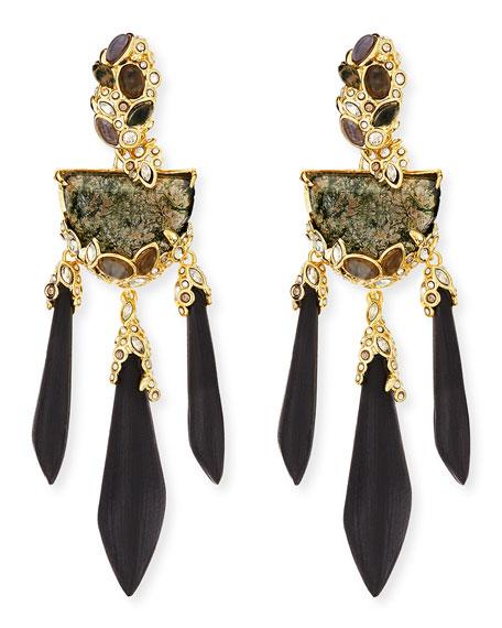 Imperial Moss Agate & Black Lucite Chandelier Earrings