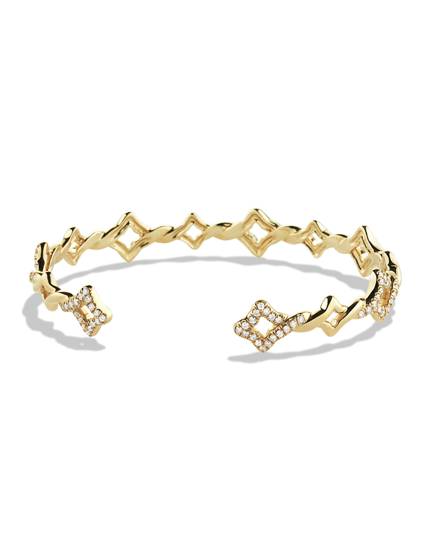Venetian Quatrefoil Single Row Cuff Bracelet With Diamonds In Gold