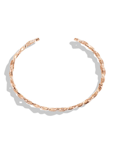 Venetian Quatrefoil Single-Row Cuff Bracelet with Diamonds in Rose Gold