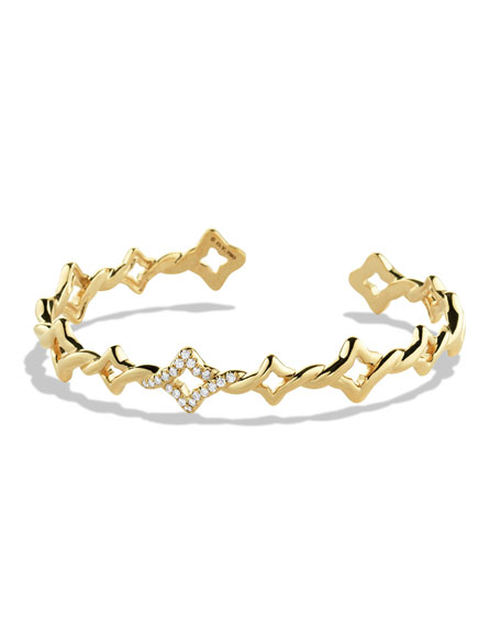Venetian Quatrefoil Single-Row Cuff Bracelet with Diamonds in Gold