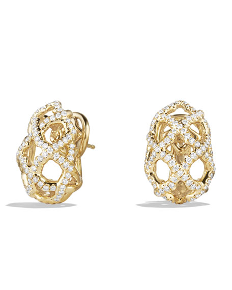 Venetian Quatrefoil Earrings with Diamonds in Gold