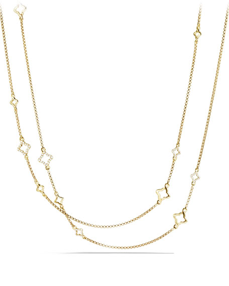 Venetian Quatrefoil Link Chain Necklace with Diamonds in Gold