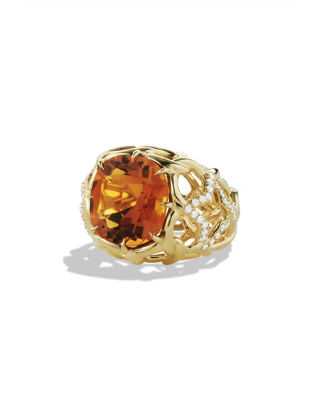 Venetian Quatrefoil Ring with Madeira Citrine and Diamonds in Gold