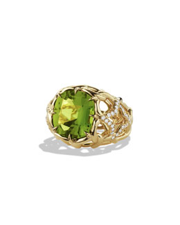 David Yurman Venetian Quatrefoil Ring with Peridot and Diamonds in Gold, Sz 7