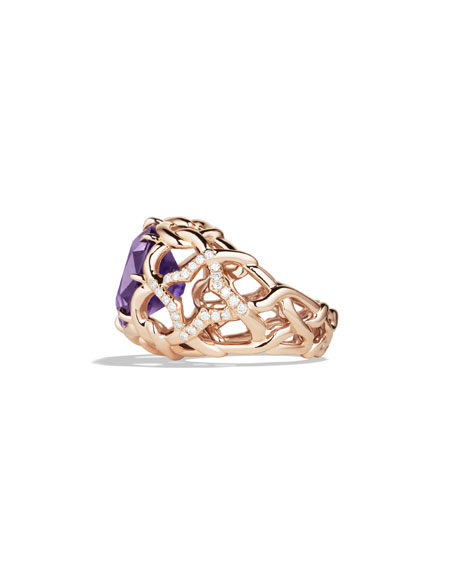 Venetian Quatrefoil Ring with Amethyst and Diamonds in Rose Gold