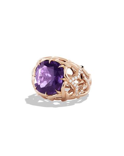 David Yurman Venetian Quatrefoil Ring with Amethyst and Diamonds in Rose Gold