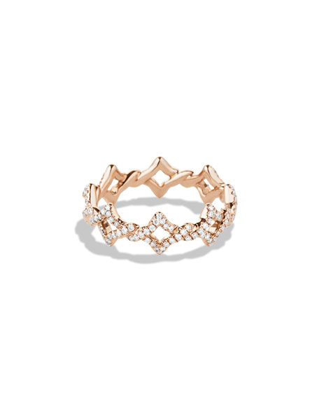 Quatrefoil Stacking Ring with Diamonds in Rose Gold