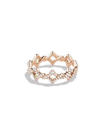 DAVID YURMAN Quatrefoil Stacking Ring with Diamonds in Rose Gold