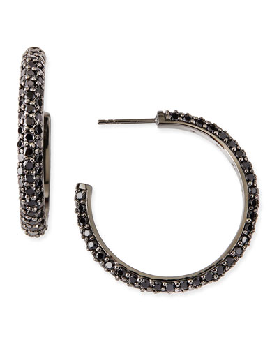 M.c.l. Design By Matthew Campbell Small Pave Black Spinel Hoop Earrings