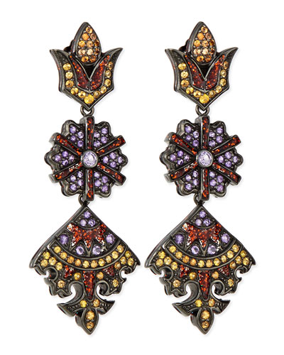 M.c.l. Design By Matthew Campbell Long Flower/Kite Earrings with Enamel, Orange Sapphire and Amethyst