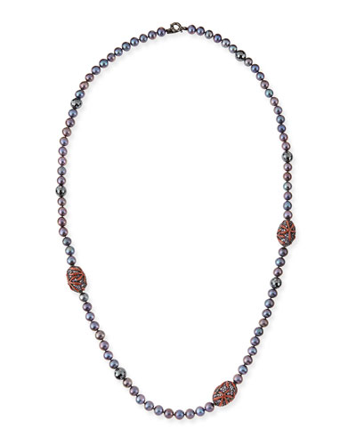M.c.l. Design By Matthew Campbell Long Black Pearl Necklace with Hematite, Enamel & Sapphire