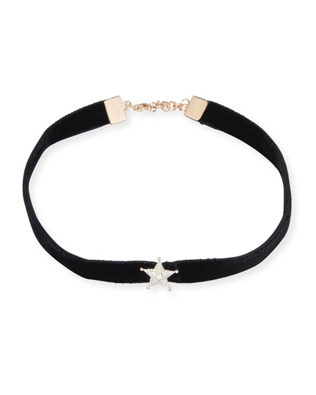 Velvet Choker Necklace with Diamond Star Station