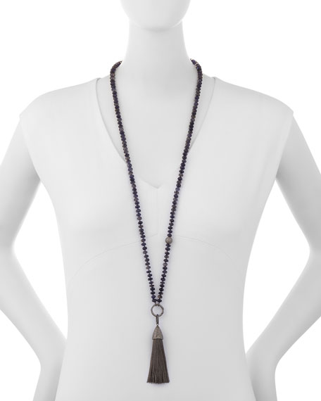 Beaded Iolite & Diamond Tassel Pendant Necklace
