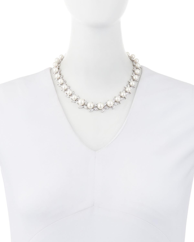 Fallon Monarch Crystal & Pearly Bead Choker Necklace UkxZj6
