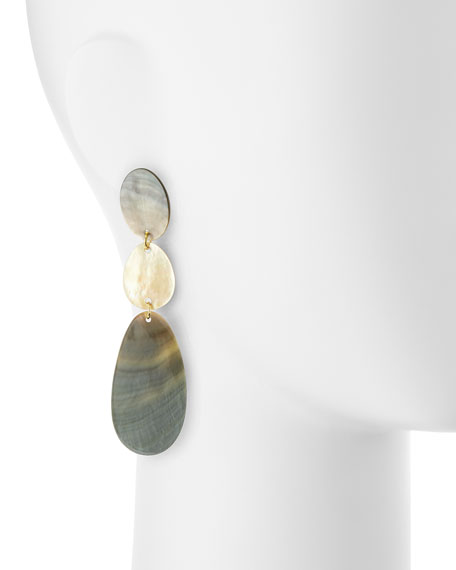 Triple Drop Oval Shell Earrings